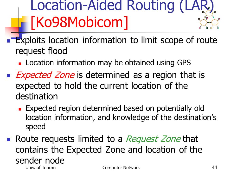 Location-Aided Routing (LAR) [Ko98Mobicom]